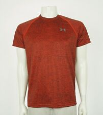 Under Armour UA Tech HeatGear Dark Orange Tee Shirt Mens Small