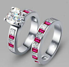 18K White Gold GP Crystal Zirconia AAA CZ Heart Bridal engagement Ring Set