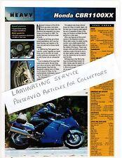 HONDA CBR1100XX, DECEMBER 2002 LAMINATED A4 SIZE WRITE-UP, SEE DESCRIPTION