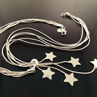 A925 GENUINE REAL 925 STERLING SILVER SF LADIES STAR DROP PENDANT NECKLACE CHAIN