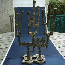 Création Hanouka K.L. Israël Bronze Beaux Décors Reliefs 34 x23 x 8 Cm 1,060 Kgs