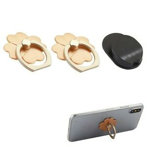 2 PACK- GOLD Four-Leaf Clover Adhesive Ring Stand WITH hook