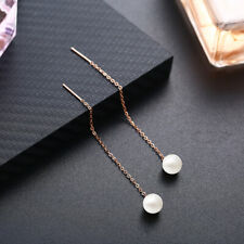 Solid 18K Rose Gold 8mm Round Pearl Luxurious Generous Engagement Gift Earrings