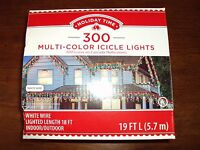 New Set Of 300 Multi-Color Icicle Christmas Lights WHITE Wire 18ft Lighted MIB