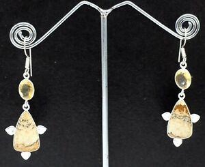 "925 Sterling Silver Picture Jasper & Citrine Gemstone Jewelry Earrings Si-1.20"""