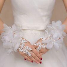 Fashion Lace Hollow Rhinestone Flowers Bridal Fingerless Wedding Luxury Gloves