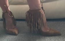 👠Bnwt Ladies Zara Tan Leather Stiletto Fringe Shoes Size 7 40 New