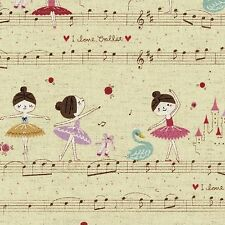 By 1/2 Yard Kokka Canvas Fabric ~ Petit Etoile ~ A Musical Ballet in Natural