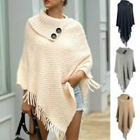 Women Knitted Tassel Fringe Pullover Shawl Poncho Sweater Loose Knitwear Tops