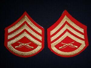 Pair Of USMC Marine STAFF SERGEANT Rank Small Chevrons Never Worn