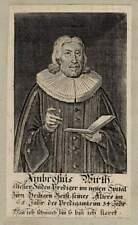 ca 1730 Ambrosius WIRTH Nürnberg Heilig-Geist-Spital Prediger Kupferstich-Porträ