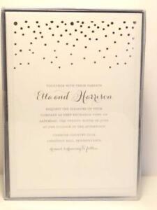 200 pc Ivory Gold Dot Wedding Invitations & Envelopes Print Your Own DIY New