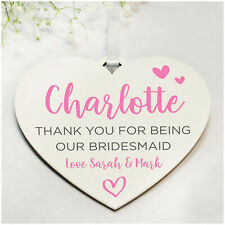 PERSONALISED Bridesmaid Flower Girl Maid of Honour Thank You Gifts Heart Plaques