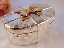 Jewelry Box Vintage Silver Plated Covered Lined Oval Trinket Dish Gift for Her