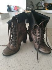 River Island Military Style Army Khaki Heel Boots Uk Size 5 Rrp £75