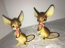 Sweet Vintage Brown Flocked Mouse LOT of 2 Hard Plastic Mid Century Giant Ears