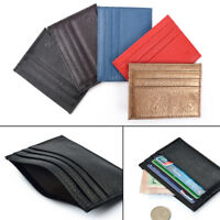 Super Slim Leather Pocket Wallet Credit Card Holder Purse for Men & Women FEH