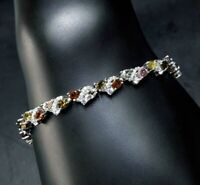 AAA NATURAL MULTI TOURMALINE WHITE CZ -STERLING 925 SILVER BRACELET
