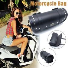 Motorcycle Cruiser Leather Tool Bag Fork Barrel Shape Handlebar Black Rivet