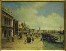 FRAMED OIL ON BOARD PAINTING OF VENICE, antique