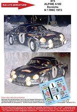 DECALS 1/18 REF 873 ALPINE RENAULT A110 DARNICHE RALLYE MONTE CARLO 1973 RALLY