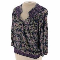 Lucky Brand Floral Knit Top Shirt Blouse M Medium Blue Purple