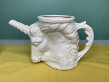 Vintage 1980 Solid White Unsigned Rumph Styled Unicorn Pitcher Planter