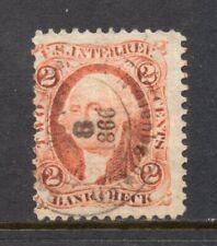 Scott # R6c, Used, Vg, 2¢ Bank Check, 1862, Cds, Union Square, New York City