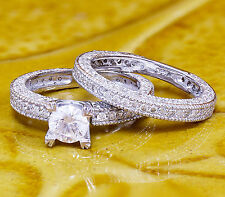 14K WHITE GOLD ROUND SIMULATED DIAMOND ENGAGEMENT RING BRIDAL DECO PRONG 1.80CTW