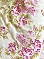 Pink Roses & Stripe Reversible Queen Duvet with 2 Euro Shams Summer Floral Vtg