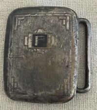 """Vintage Art Deco 1920's 1930's HICKOK Silver Plated Bronze Small Belt Buckle """"F"""""""