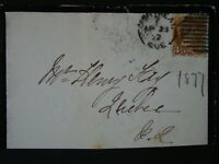 CANADA COVER-1877 MONTREAL SPLIT RING CANCEL TIED WITH #37 3 CENT SMALL QUEEN