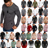 Mens Long Sleeve Slim Fit Tops Longline  Muscle Sports Fitness Casual T-shirt