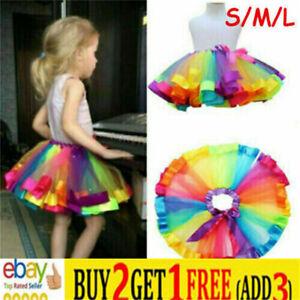 Kids Child Girl Rainbow Bow Colorful Tutu Skirt Tulle Tutu Mini Dress Danceweasa