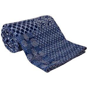 Indian Indigo Quilt King Size Kantha Pure Cotton Blanket Bedding Handblock Quilt