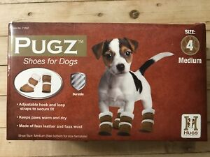 PUGZ Shoes For Dogs Size 4 Medium Brown Durable Hugs Pet Products New