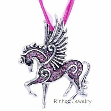 Purple Angel Pegasus Costume Long Pendant Necklace Friendship Crystal Jewelry