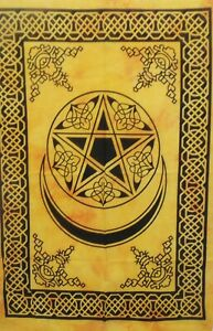 Moon Star Poster Wall Hanging Tapestry Yellow Bohemian Hippie Home Decor Art