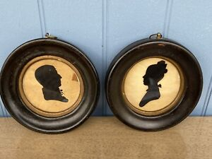 antique Hollow Cut Peale's Museum Silhouette Framed