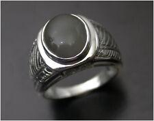 Man's Grey Agate Ring size T 9ct White Gold Birmingham HM c2007 Beautiful Stone
