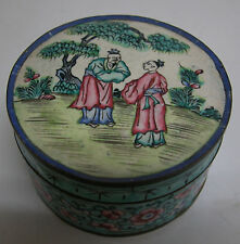 CHINESE Hand-Painted Enamel over Brass Or Copper Round Box c. 1890