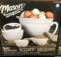Mason Craft and More 5-Piece Batter Bowl & Measuring Cup Set Durable Stoneware