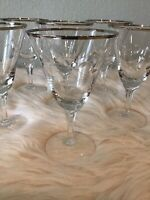 Set Of 6 Vintage Silver Rimmed Etched Cut Stem Crystal Wine Water Goblets