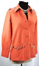 Vtg 1950s 60s Sir James Snap Top blazer jacket Orange poly coat chain Woman Sz L