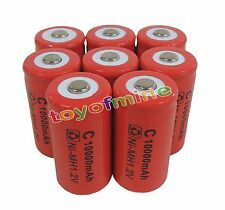 8x C size 1.2V 10000mAh Ni-MH Red Color Rechargeable Battery USA