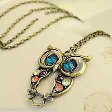 Owl Necklace - Vintage Long Chain Pendant Rhinestone Fashion Jewellery Gift