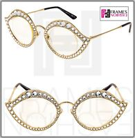 GUCCI LIPS CRYSTAL Sunglasses 4287 Cat Eye Gold Metal Frame RX Glasses 0046