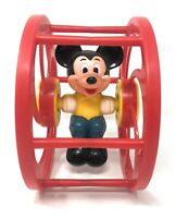 Vintage Mickey Mouse Red Rolling Wheel Toy From Walt Disney Productions By Illco