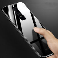 For OnePlus 6T Tempered Glass Case Hybrid Slim Hard Armor Shockproof Back Cover