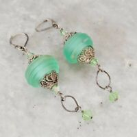 925 Sterling Silver Green Matte Swirl Glass Beaded Drop Hook Earrings